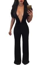 Womens Sexy Deep V-neck Pleated Wide Leg Jumpsuit Black