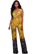 Womens Sexy Deep V-neck Pleated Wide Leg Jumpsuit Yellow