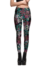 Womens Slimming Color Block Skull Printed Leggings Dark Red