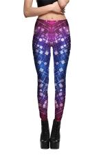 Womens Slimming Color Block Plaid Printed Leggings Purple
