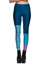 Womens Slimming Color Block Striped Printed Leggings Sapphire Blue