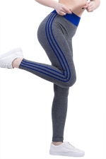 Womens High Waist Side Striped Printed Sports Leggings Blue