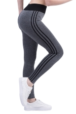 Womens High Waist Side Striped Printed Sports Leggings Black
