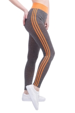 Womens High Waist Side Striped Printed Sports Leggings Orange