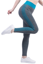 Womens High Waist Side Striped Printed Sports Leggings Light Blue