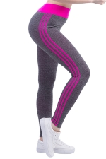 Womens High Waist Side Striped Printed Sports Leggings Rose Red