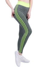 Womens High Waist Side Striped Printed Sports Leggings Yellow