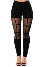 Womens Plain Patchwork Striped High Waist Leggings Black
