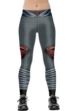 Womens Elastic Robot Printed Sports Leggings Dark Gray