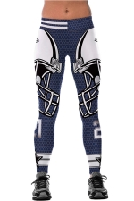 Womens Elastic Football Helmet Printed Sports Leggings Navy Blue