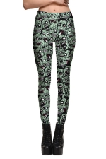 Womens Fitness Devil Head Printed Designer Leggings Green