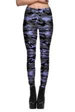 Womens Fitness Camouflage Printed Designer Leggings Light Purple