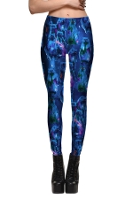 Womens Fitness Cat Printed Designer Leggings Sapphire Blue