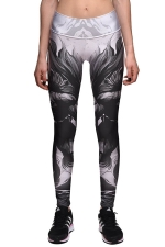 Womens High Waist Ankle Length Printed Sport Leggings Gray