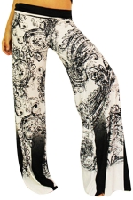 Womens Exotic Printed Color Block Palazzo Leisure Pants White