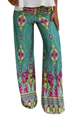 Womens Exotic Printed Color Block Palazzo Leisure Pants Green