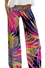 Womens Exotic Printed Color Block Palazzo Leisure Pants Rose Red