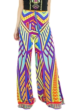 Womens Exotic Printed Color Block Palazzo Leisure Pants Purple