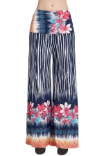 Womens High Waist Striped Floral Printed Palazzo Pants Rose Red