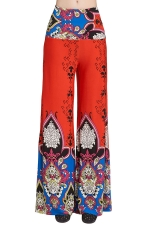 Womens High Waist Color Block Exotic Printed Palazzo Pants Tangerine