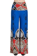 Womens High Waist Color Block Exotic Print Palazzo Pants Sapphire Blue