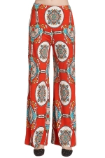 Womens Color Block Exotic Print Palazzo Leisure Pants Tangerine