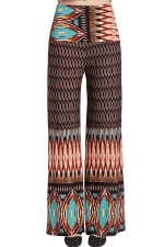 Womens Color Block Exotic Print High Waist Palazzo Pants Coffee