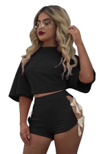 Womens Crewneck Lace Up Crop Top&High Waist Shorts Suit Black