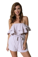 Womens Off Shoulder Ruffled Top&Drawstring Waist Shorts Suit Pink
