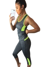 Womens Sports Color Block Tank Top&Capri Pants Suit Yellow