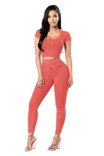 Womens Plain Short Sleeve Crop Top&High Waist Pants Suit Tangerine