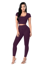 Womens Plain Short Sleeve Crop Top&High Waist Pants Suit Purple
