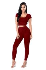 Womens Plain Short Sleeve Crop Top&High Waist Pants Suit Ruby
