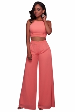 Womens Chiffon Sleeveless Crop Top&High Waist Palazzo Pants Suit Pink