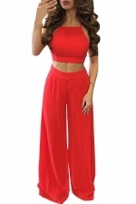 Womens Chiffon Sleeveless Crop Top&High Waist Palazzo Pants Suit Red
