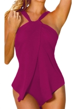 Womens Stylish Halter Plain One Piece Swimsuit Purple