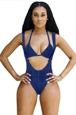 Womens Two-piece Plain Halter Cut Out Monokini Light Blue