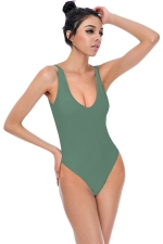 Womens U Neck Plain Open Back Classic One Piece Swimsuit Army Green