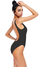 Womens U Neck Plain Open Back Classic One Piece Swimsuit Black