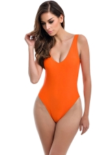Womens U Neck Plain Open Back Classic One Piece Swimsuit Orange