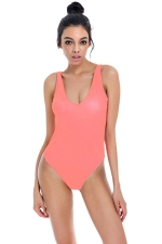 Womens U Neck Plain Open Back Classic Monokini Watermelon Red