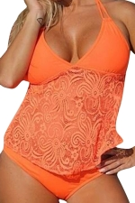 Womens 2PCS Plus Size Lace Patchwork Plain Tankini Swimsuit Orange