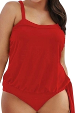 Womens Plain Two-piece Plus Size Tankini Swimsuit Red