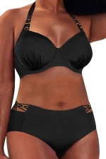 Womens Halter Plus Size Bikini Top&Cutout Swimsuit Bottom Black