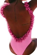 Womens Flower Decor Open Back One Piece Swimsuit Pink