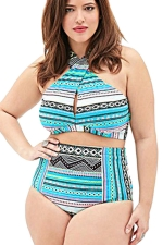 Womens Plus Size Geometric Bikini Top&High Waist Swimsuit Bottom Blue