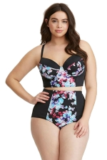 Womens Plus Size Bandeau Floral High Waist 2PCS Bikini Set Black