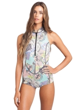 Womens Zipper Front Racer Back Printed One Piece Swimsuit Light Blue