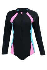 Womens Zip Up Color Block Long Sleeve One Piece Diving Suit Black