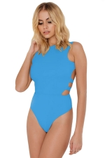 Womens Buckle Backless Plain One Piece Swimsuit Blue